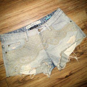 Zara Trafaluc Distressed Cut-Off Jean Shorts
